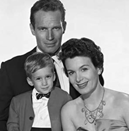 Charlton Heston with his wife, Lydia Marie Clarke, and son